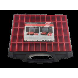 Tayg assortimentskoffer zwart met transparante deksel, met 50 inzetbakjes; model 430/50/50