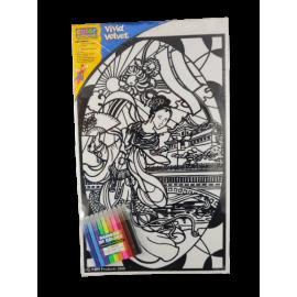Color Workshop flock inkleurschilderij Japanse dame (per 4)