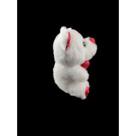 Pluche dieren wit 10 cm met rood textiel, bedrukt met hartjes (per 6)